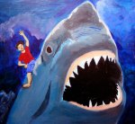 Along for The Ride, my son riding a Great white Shark