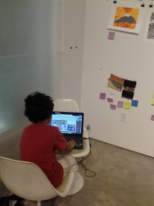 Art Instillation: My son playing video games in the corner